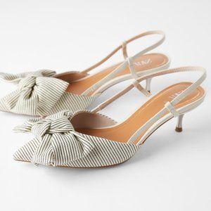NWT Zara 6.5 Ecru Striped Kitten Heel Bow Shoes